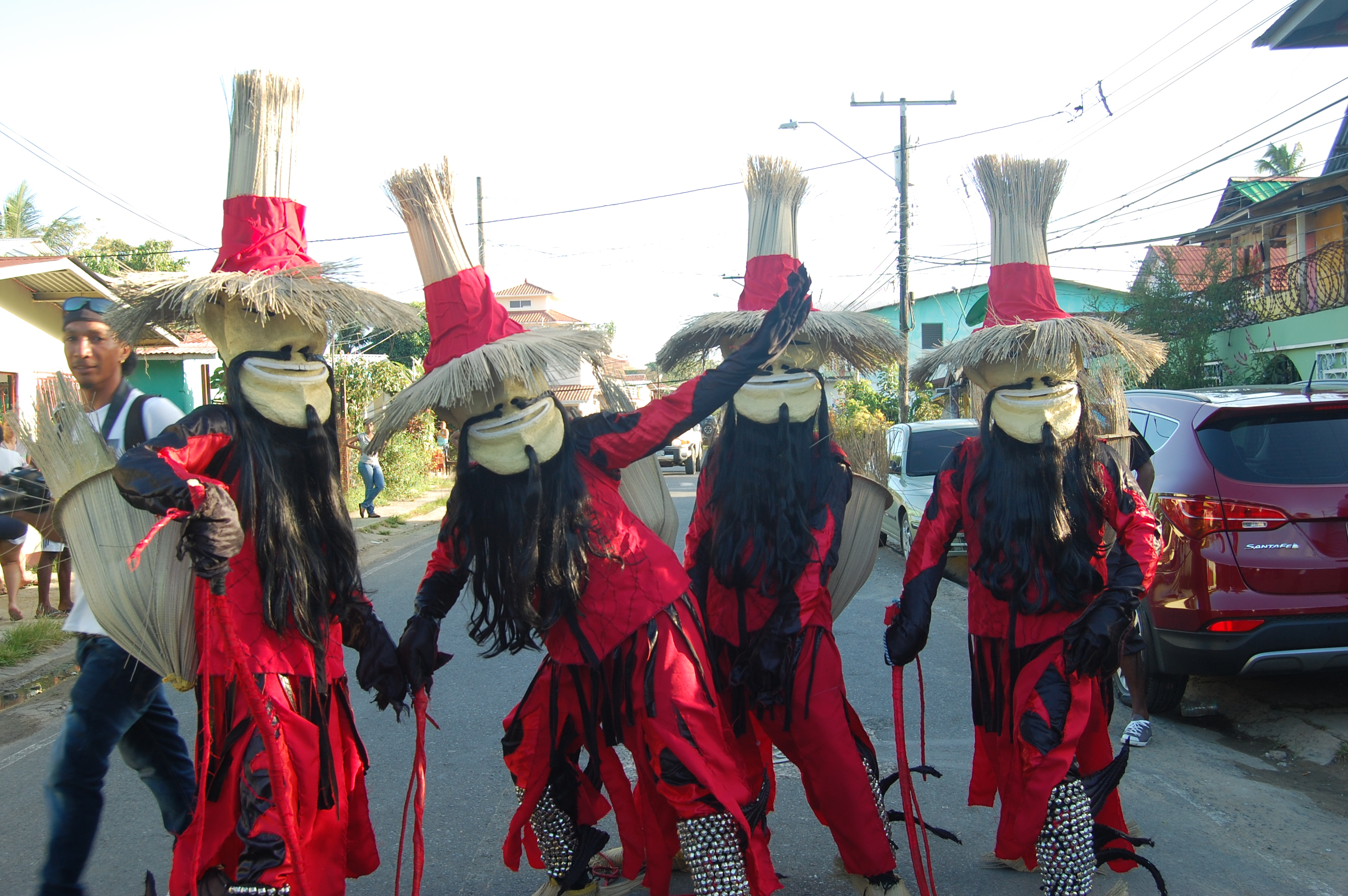 Locals dressed up in customs for Bocas del Toro's Carnival