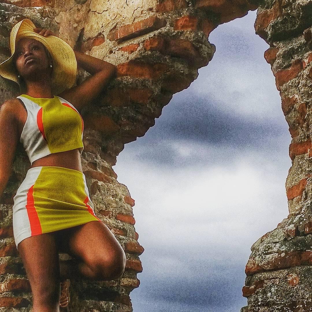 Black tourist posing at the Ruins of Panama La Vieja in Panama City