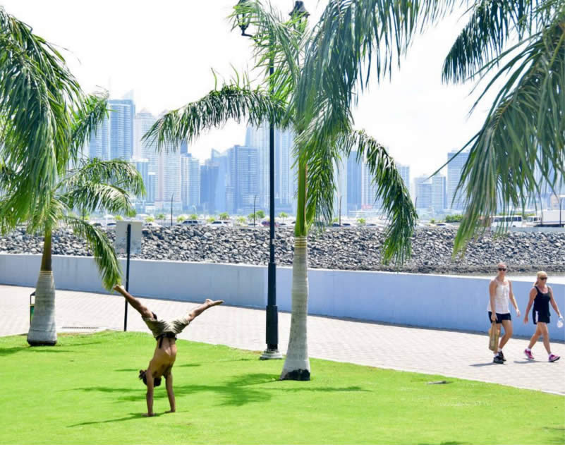 Tourists doing exercise at Cinta Costera in Panama City, Panama