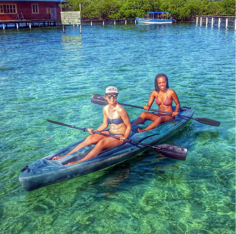 Two tourists kayaking in Panama