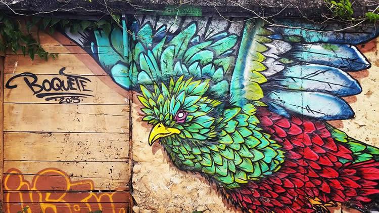 Quetzal Inspired Street Art in Boquete, Panama