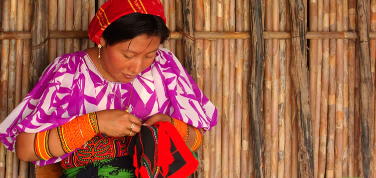 Guna Woman Sewing a Mola