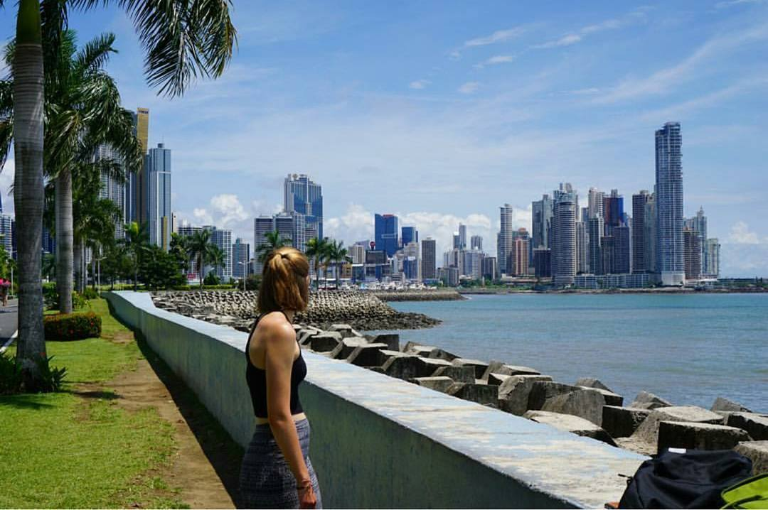 Checking out Panama's City skyline from Cinta Costera on a Sunny Day