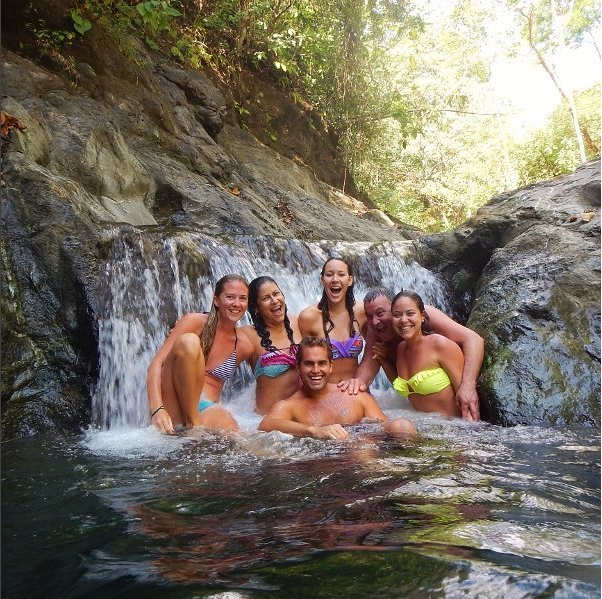 Female Travlers by Waterfall in Panama