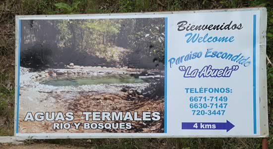 Sign to the Abuela Hot Springs in Caldera near Boquete