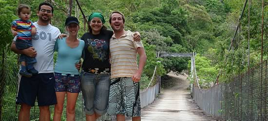 The four of us on the bridge over the Chiriqui River on our way to the Caldera Hot Springs
