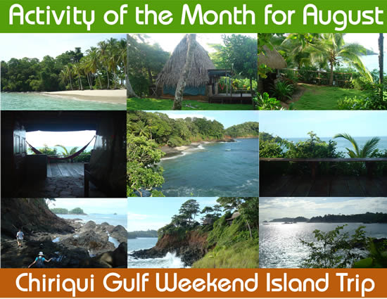 Collage of photos from Isla Paridita and other islands of the Chiriqui Gulf National Marine Park in Panama