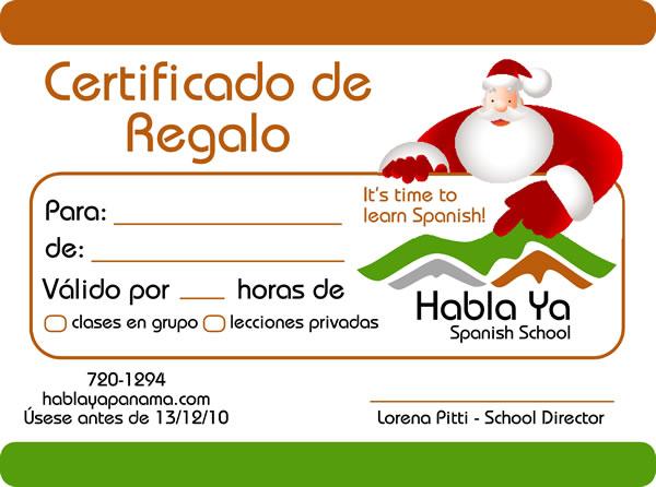 Habla ya gift christmas certificate for spanish lessons 15 christmas gift certificate for spanish classes in panama yadclub Image collections