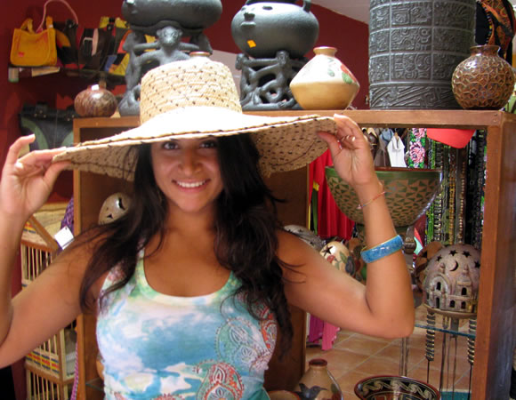 Ariana Lopes in local artisan shop in Boquete, Panama