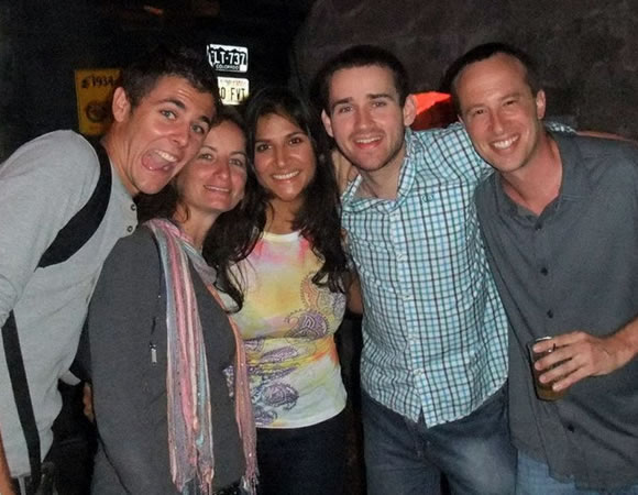 Going out with friends and hanging out with the locals will help your practice your Spanish: Ariana with fellow Habla Ya students Paul (Holland), Nancy (New York), Andrew (United Kingdom) and Joe(Chicago)