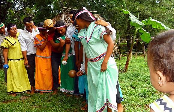 Traditional Ngobe Bugle Indigenous Dance in Soloy, Chiriqui, Panama