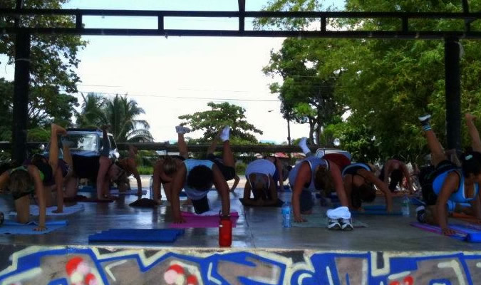 Bianca's kick boxing classes take place at various locations, generally overlooking the water.