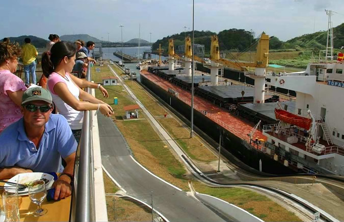 View of the Miraflores Locks of the Panama Canal from the Visitor Center's Restaurant