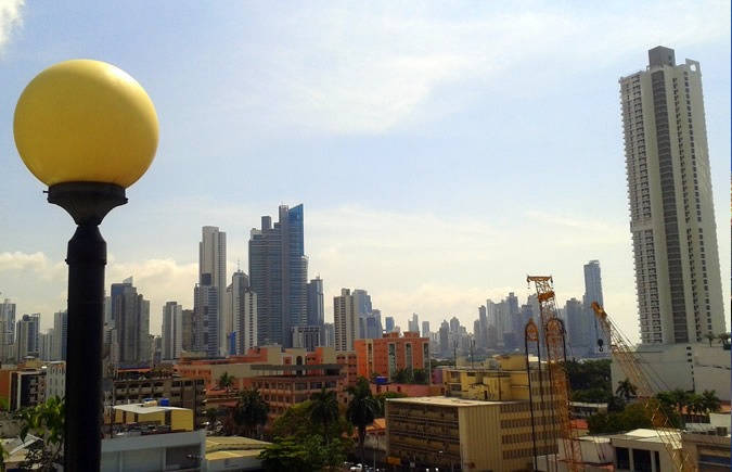 View of the Panama City Skyline from my hotel in Bella Vista