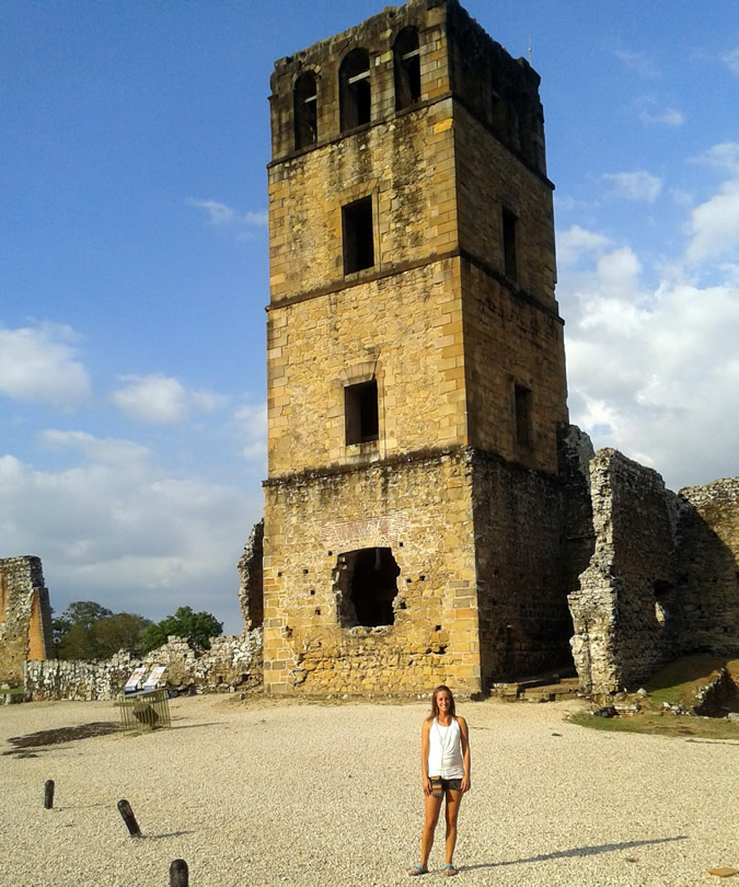 Me in front of the restored Cathedral tower in Panama La Vieja