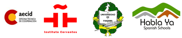Logos of the Instituto Cervantes, AECID, La Universidad de Panamá and Habla Ya Spanish Schools