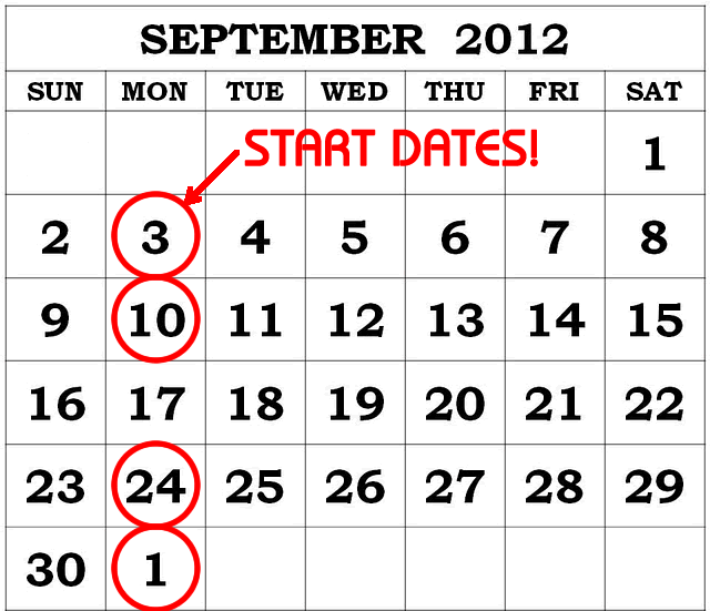 Start Dates for 2x1 Special Residents' Promotion in September 2012