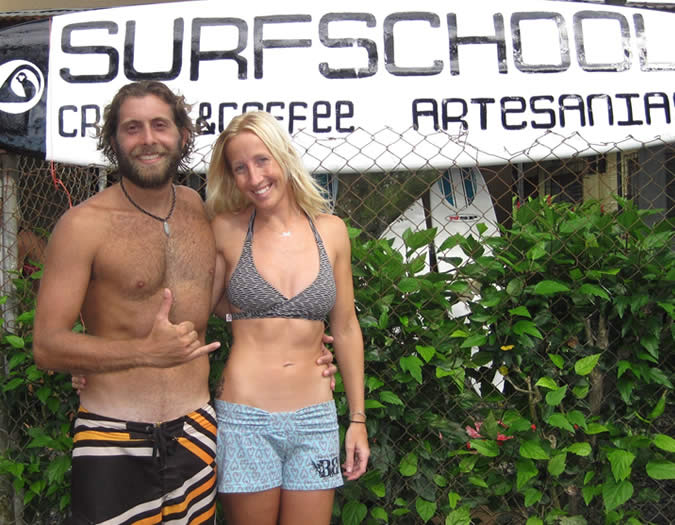My surf buddies: Joan and Juan David, surf instructors and owners of Mono Loco Surf School