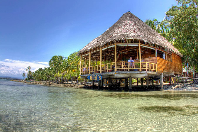 Bibi's on the beach, one of the best restaurants in Bocas del Toro, certainly has one of the best locations