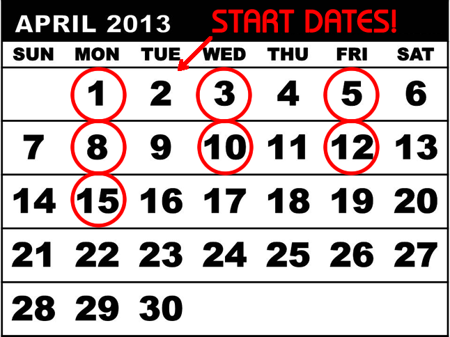 Start Dates for Springs' Special Residents' Promotion in 2013