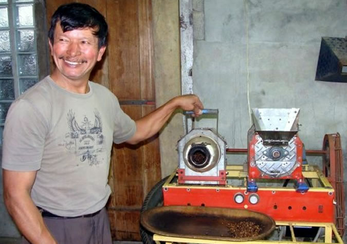 Don Tito made all of the equipment to process the coffee on his own, including these roasting devices made from motor parts of his old truck