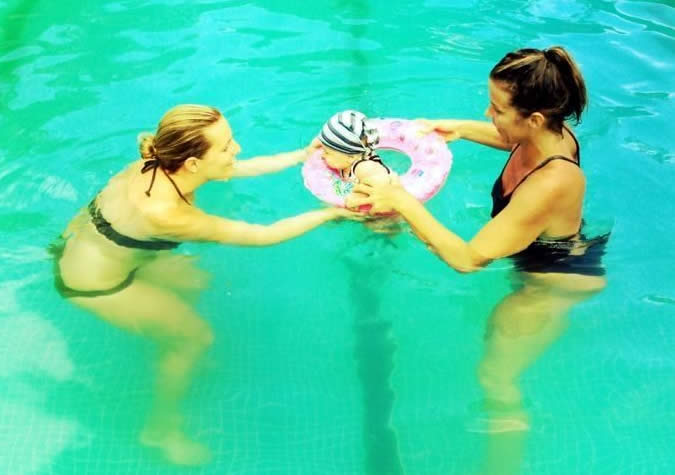 The baby swimming classes were a great way to get to know other moms as well