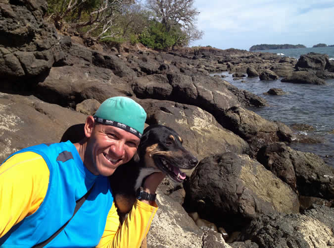 Aris Almengor, Director of Tours & Activities for The Resort at Isla Palenque (and his hiking companion, Vera)
