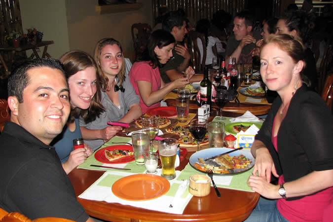 Dinner out at local restaurant with fellow students