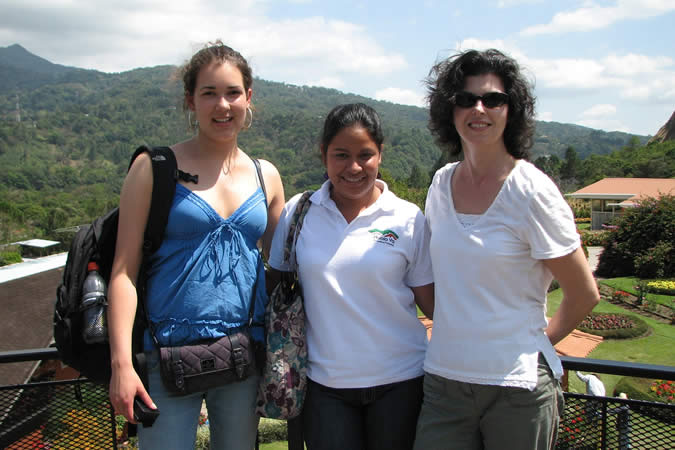 It was nice that we sometimes had our Spanish class outdoors. Here's me, with my Spanish teacher Monica, and a classmate from Denmark