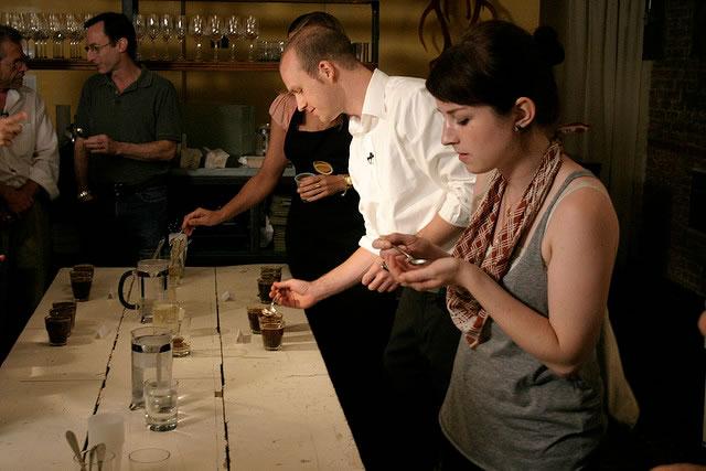 Specialty coffee sampling in Panama. Photo by M. N. Rage.