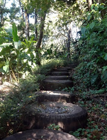 The trail made out of recycled tires that takes you through Finca Luz