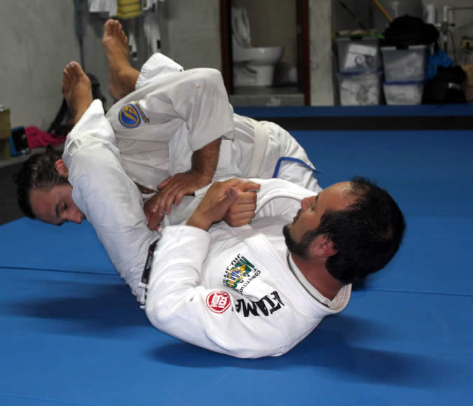 Jiu Jitsu Instructor Ray Quintana Torralba with one of his new students in Bocas del Toro