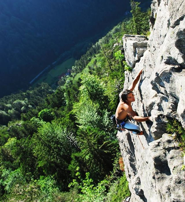 Taking risks in life has certainly paid off for Cesar. Cesar climbing in The Black Forest, Germany.
