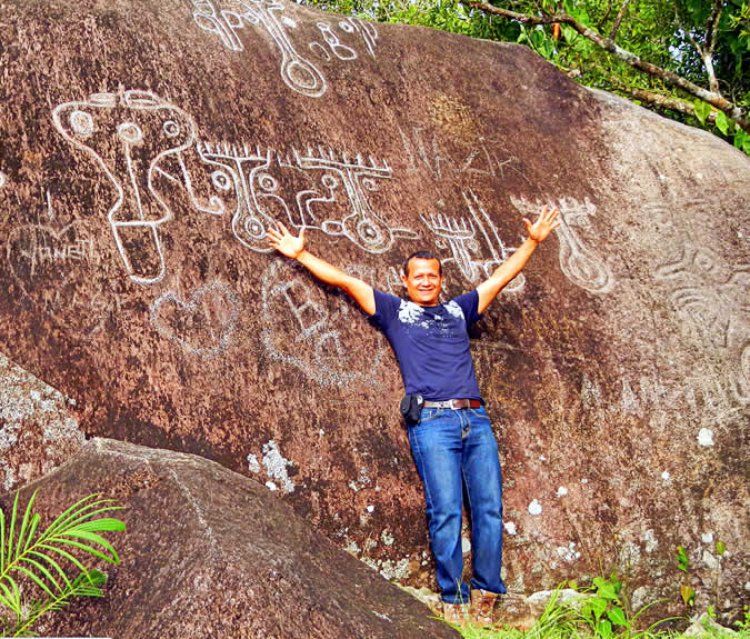 Erick at Piedra Pintada  Petroglyph in Caldera, Chiriqui