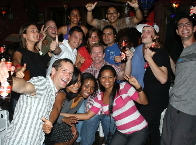 Group of Habla Ya Spanish students and staff partying at Zanzibar