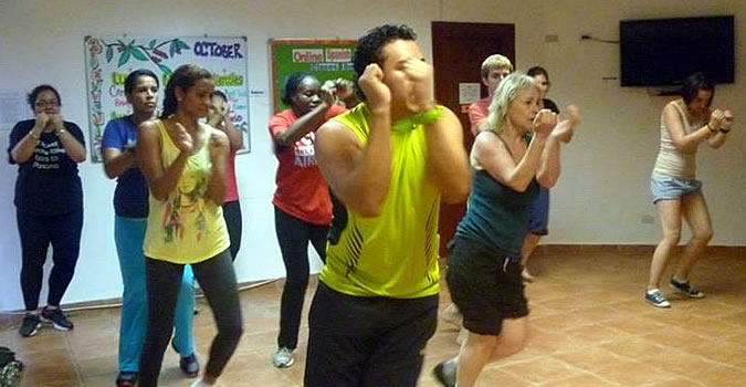 Once a week we end our days at the school with a Zumba class to keep ourselves fit and active