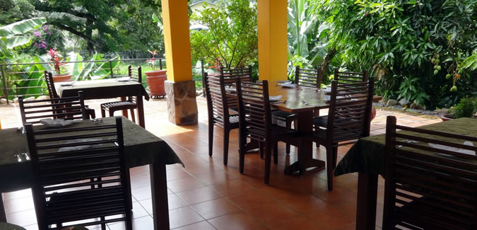 The Mango Restaurant is set in the middle of the tropical garden
