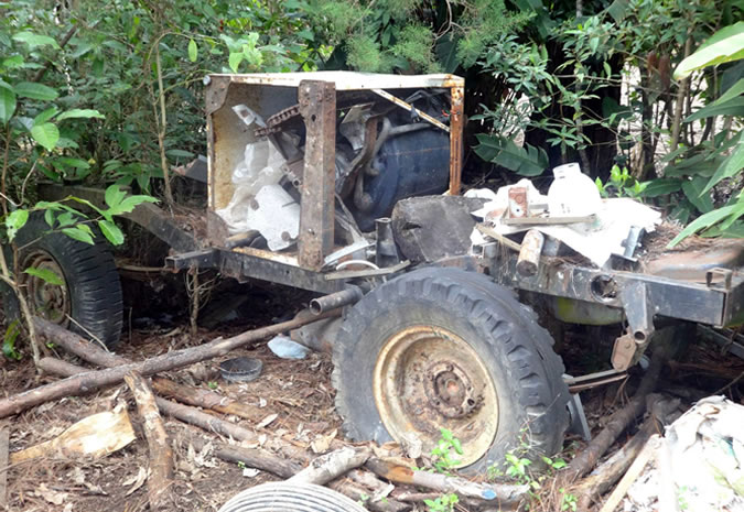 The remains of an old jeep that Don Tito took apart to build his very own machines to process the coffee... which are still used today!