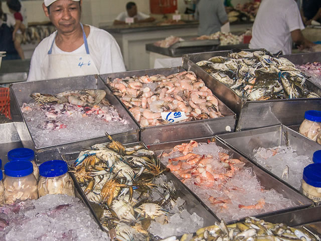 Seafood at the fish market in Panama City