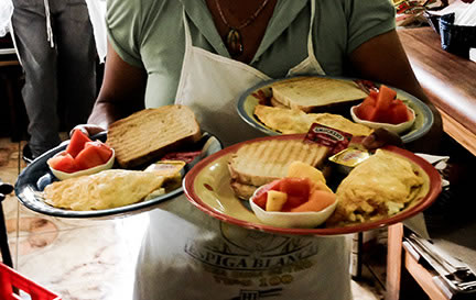A delicious breakfast from Sugar and Spice made with fresh local ingredients... don't miss it!