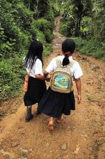 Depending on the area of the Comarca, even some young children have to walk hours to get to school (just one way).