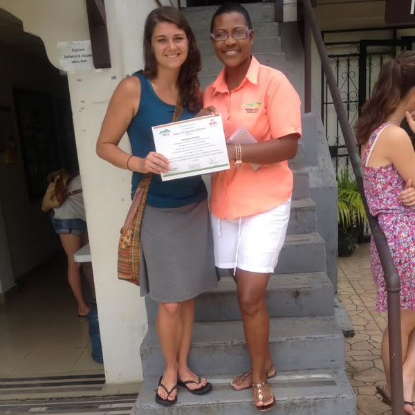 Kate with her Spanish teacher Iveth, at the end of her 7 week Spanish immersion program in Panama