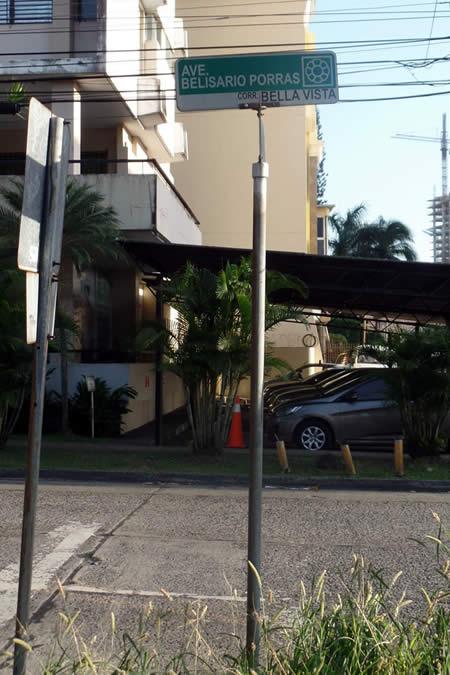 Avenida Belisario Porras Sign in El Carmen, Panama City