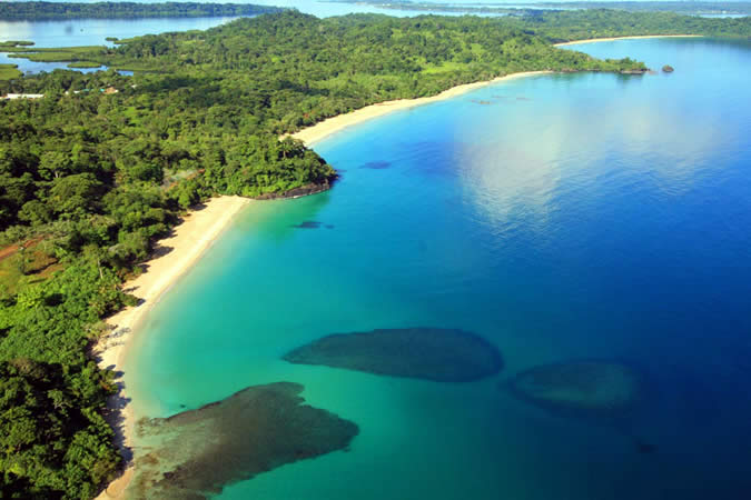 In Bocas del Toro there are many amazing beaches. Red Frog Beach is just one of them. View from the sky where you can see Turtle Beach (the first one from left to right), Red Frog Beach and Wizard Beach.